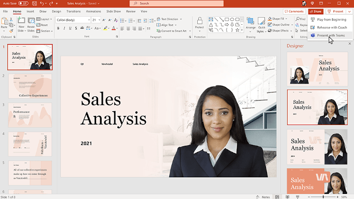 A screenshot of a PowerPoint presentation with a person within the screen.