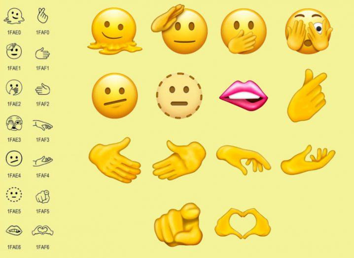Samples of several of the new emojis being introduced in the next Unicode update.