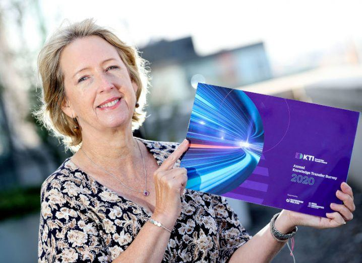 Alison Campbell, the director of Knowledge Transfer Ireland, is pictured standing outdoors and holding the organisation's recent survey.
