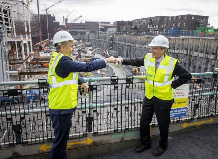 Taoiseach Micheál Martin and Intel CEO Pat Gelsinger at the construction of an expansion of company's Leixlip site.