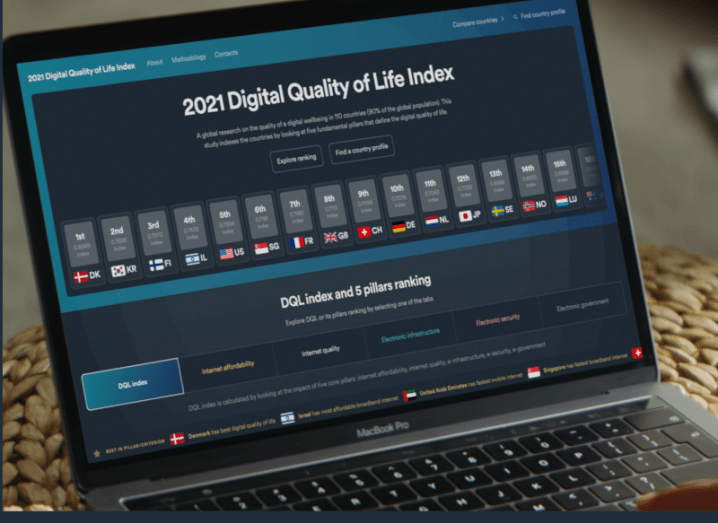 Digital quality of life index 2021 results displayed on a laptop screen.
