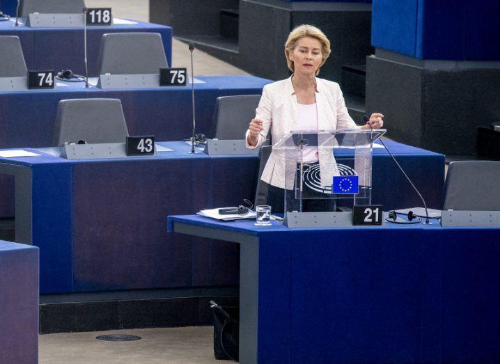 A file photo of Ursula von der Leyen addressing the European Parliament.