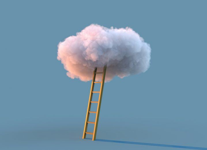 Ladder leading up to a grey-ish white cloud in a grey background.