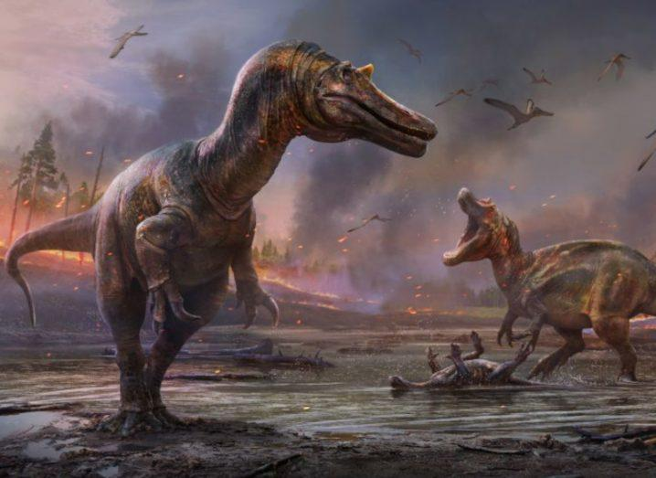 Artistic impression of two dinosaurs preying close to the shore.