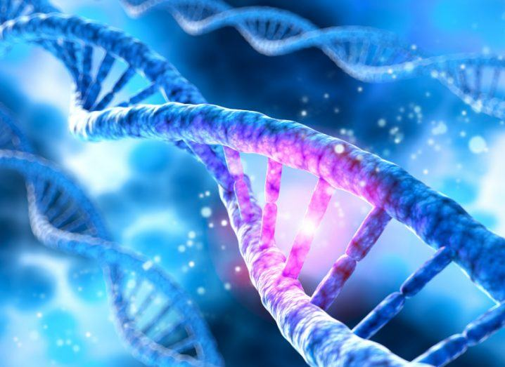 A digital depiction of DNA is shown, as this would be the target of the new CRISPR tools.