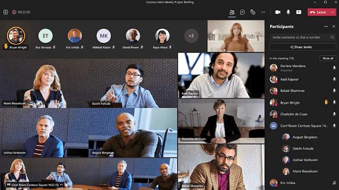 A screenshot of a Microsoft Teams view with intelligent cameras showing multiple people.