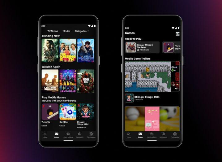 Two smartphones showing the Netflix app interface, including games, against a black background.