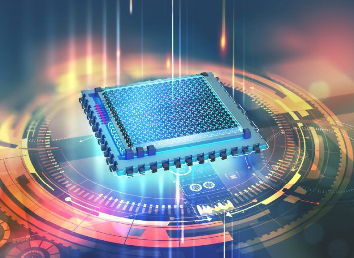 A 3D illustration of a quantum processor is shown. It is a glowing computer chip surrounded by computer-generated circles, showing the futuristic technology of Quantum Machines.