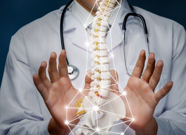 Medical professional wearing white coat and stethoscope holding their hands out to show off a spinal cord.