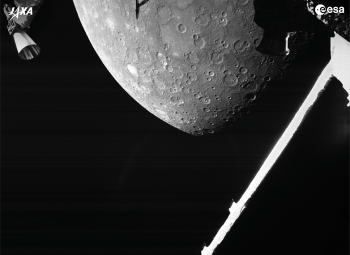 One of the first images from BepiColombo of the planet Mercury, showing a surface marked by numerous craters.