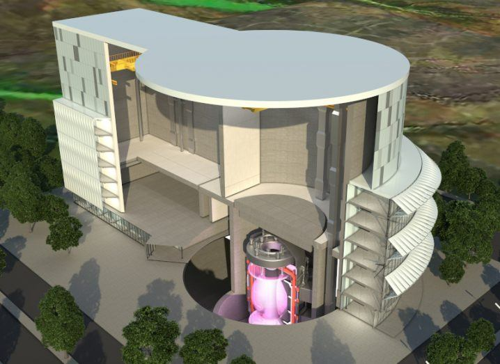Computer-generated concept design of the UK's planned fusion energy plant, showing a reactor in the centre of a large building.