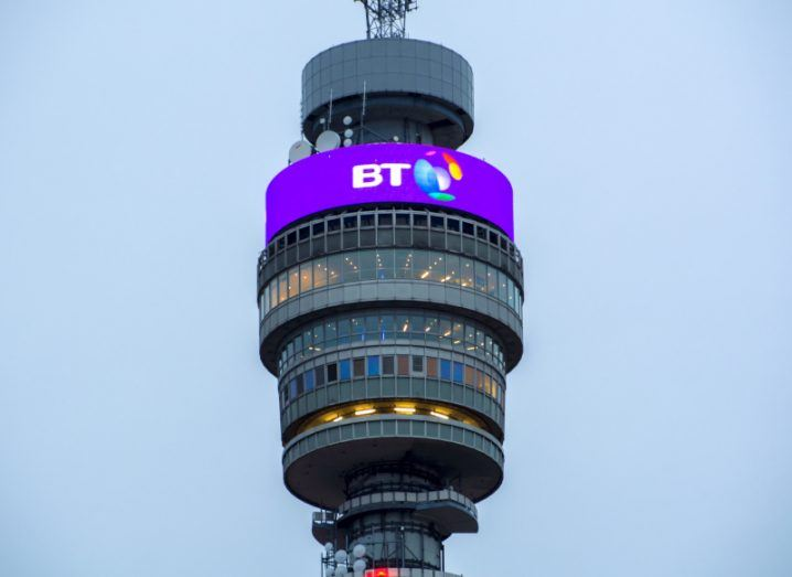 BT logo displayed on top of the BT Tower in London.