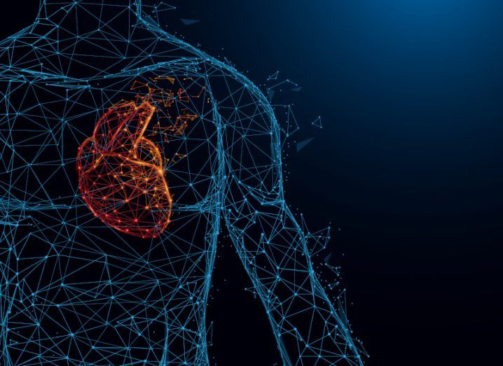 Illustration of a human body connected by blue dots with the heart in red against a dark blue background.