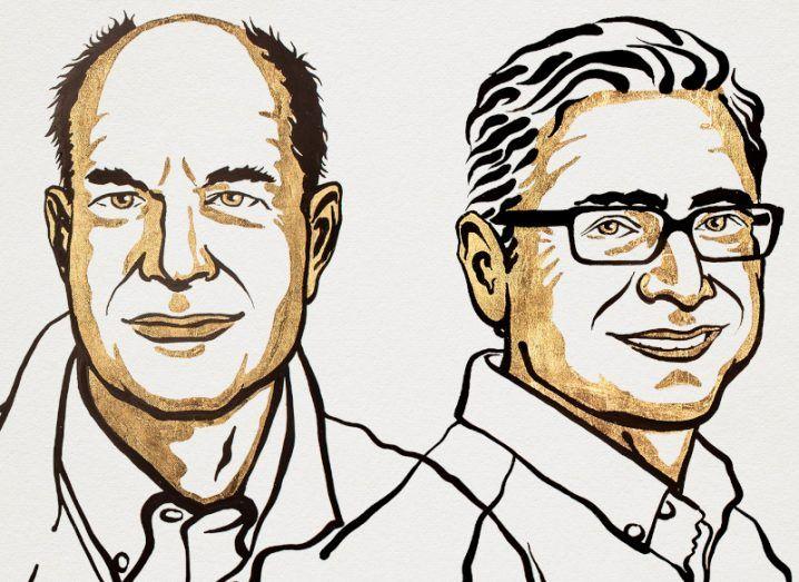 A cartoon illustration of two men.
