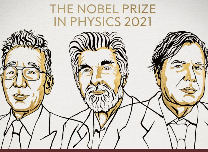 Artistic illustration of three men. Text above their faces reads 'The Nobel Prize in Physics 2021'.