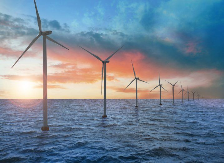 Floating wind turbines installed in the sea.